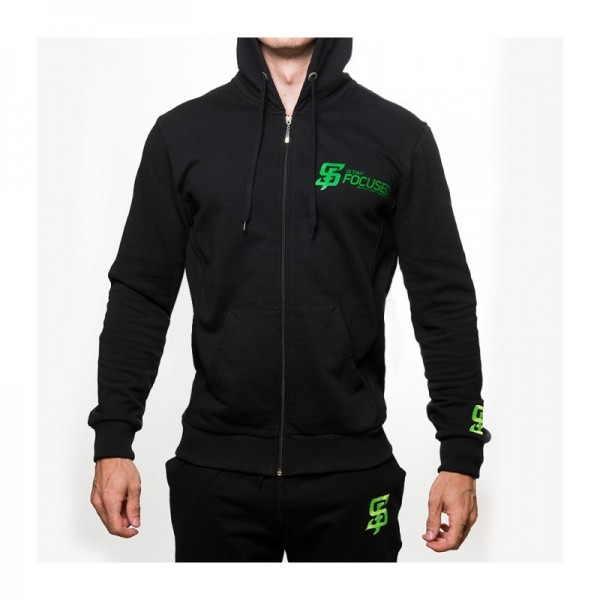 Stay Focused Zip Hoodie in schwarz