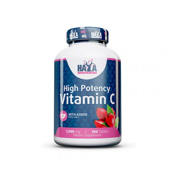 HAYA LABS High Potency Vitamin C 1,000mg with Rose Hips 100 Tabletten Dose